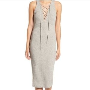 ASTR The Label Gray Lace Up Tie Front Dress